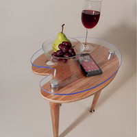 Artist Palette Accent Table - Art Studio Furniture in Clear Satin Finish - Use as Side or End Table - Modern Contemporary Design