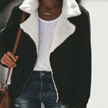 Corduroy Shearling Coat
