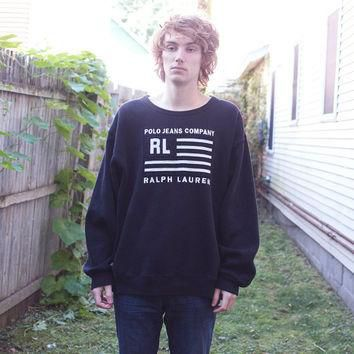 Vintage Ralph Lauren Black and White American Flag Sweater