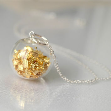 Gold leaf in hand blown glass sterling silver necklace