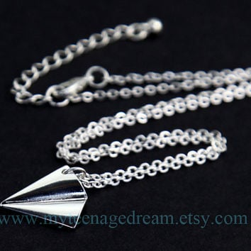 One Direction paper airplane Necklace, Directioner harry style Necklace, silver paper airplane charm