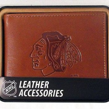 Chicago Blackhawks NHL Embossed Leather Billfold Wallet NEW in Gift Tin