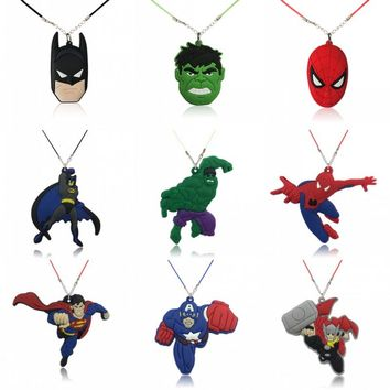 6pcs/lot Marvel Superhero Hot Movie Cartoon Avenger Action Figure PVC Charm 51cm Necklace Chic Choker Kid Gift Jewelry