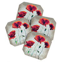 Madart Inc. Vibrant Poppies II Coaster Set