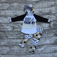 Fall clothes kids long sleeve outfits baby girls hoodie got it from my mama outfits aztec clothing children boutique sets