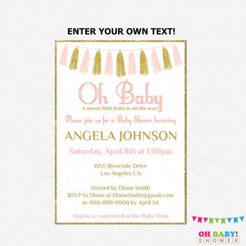 Editable Baby Shower Invitation, Pink and Gold Baby Shower Invitation, Girl Baby Shower, Printable Invitation, Oh Baby Invitation, TASPG
