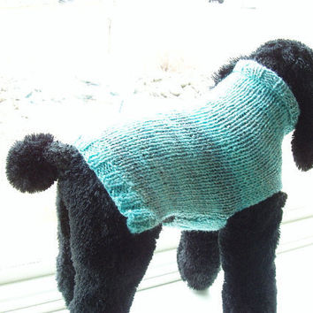 Dog Sweater Hand Knit Cool Aqua Large 16 Long by jenya2 on Etsy