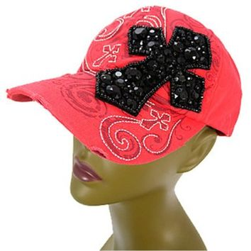 Vintage Beaded Rhinestone Bling Cross Hat Baseball Cap Women's (Coral)