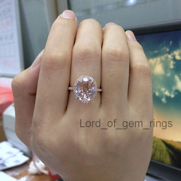 Morganite with Diamonds Engagement Ring from TheLOGR on Etsy