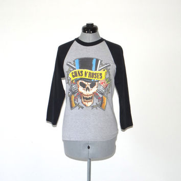 Vintage GUNS and ROSES SHIRT/ 1990's/ Metal/ Tour Shirt/ Baseball T-Shirt