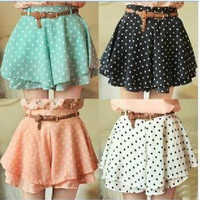 042921 Pleated Polka Dot Chiffon Divided Skirt Mini Dress Shorts culottes w/Belt