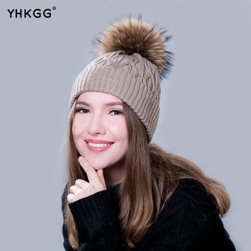 ICIKJG2 YHKGG  In 2016 The Real Practical Fur Hats During The Winter Hot Young Boys and Girls Pom Fur Fur Hat Pompom