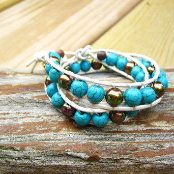 Leather  Turquoise Beaded Wrap Bracelets, Handmade Wrap Bracelets, Leather Bracelets