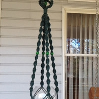 Macrame Plant Hanger in dark green 6 mm Polyolefin cord with green wooden beads, unique beaded neutral flower hanger