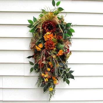 swags and wreaths, Autumn swags, fall door hanger, front door wreaths fall, rustic fall decor, farmhouse decor, modern country, rustic swags
