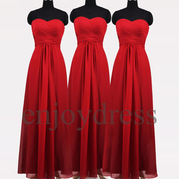 Custom Red Simple Long Prom Dress Formal Evening Gowns Wedding Party Dresses Formal Party Dresses Bridesmaid Dresses 2014 Cocktail Dress