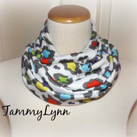 Toddler/Girls Rainbow Leopard Animal Print Infinity Scarf Ready to Ship!! Cotton Rayon Girls Accessories