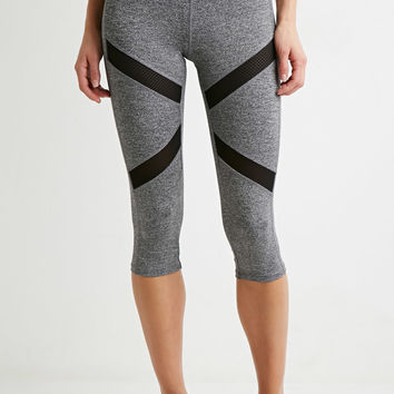 Heathered Mesh-Paneled Capri Leggings