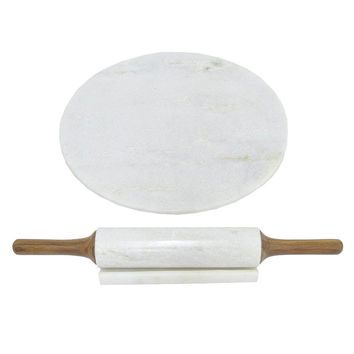12272 Marble Board With Rolling Pin-Benzara