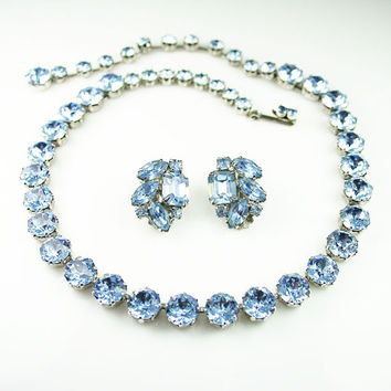 Vintage Weiss Necklace Earrings Powder Blue Rhinestone Jewelry Set