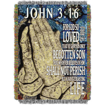 Spiritual (John 3:16) Woven Tapestry Throw (48inx60in)