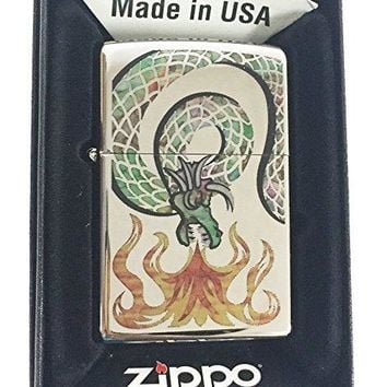 Zippo Custom Lighter - Mystic Coiled FUSION Attacking Dragon w/ Flames