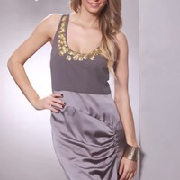 Grey Scoop Neck Sequin Decor Neckline Contrast Tone Sexy Mini Dress