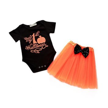 Newborn Baby Boy Clothes Happy Halloween Costume Infant Boys Girls Pumpkin Cotton Clothing Set 2 PCS Baby Girl Clothes D0925
