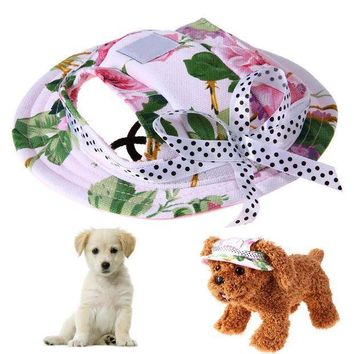 CREY78W Dog Products Summer Dog Cap Breathable Mesh Dog Princess Caps Sun Hat Princess Beach Hat For Small Dogs Pets S/M