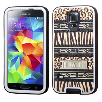 MYBAT VERGE Hybrid M-Stand Case for Galaxy S5 - Zebra-Leopard/Black