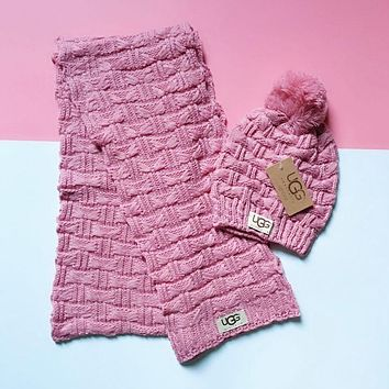 UGG Fashion Women Men Retro Knit Hat Cap Scarf Set Two-Piece Pink