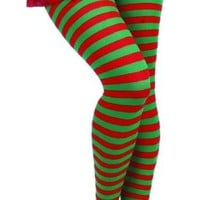 Forum Novelties Women's Adult Christmas Striped Tights, Red/Green, One Size