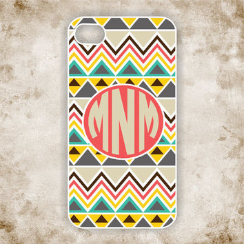 RUBBER Monogrammed iPhone 5 Case - Tribal, Aztec Pattern II with Monogram iPhone - iPhone Case, iPhone 5 Cover (iM5114)
