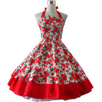 fashion high quality 100%Cotton 50s 60s swing vintage print polka dot dresses for women belt prom Retro Rockabilly Dress