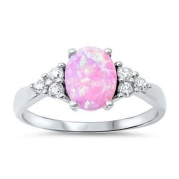 Sterling Silver Oval and Side Stones Ring 9MM Pink Lab Opal