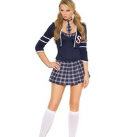 Adorable Ladies Navy Blue Cropped Jacket Class Distraction Halloween Costume
