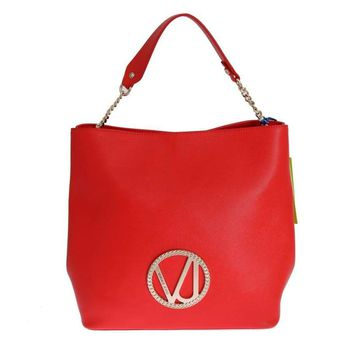 Versace Red Satchel Shopping Tote Bag