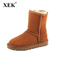 XEK New UGS Women Snow boots Fashion Quality Genuine Suede Leather Australia Classic Warm Winter shoes Snow Boots ST226