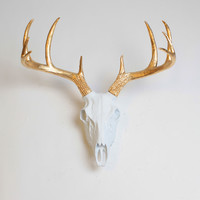 Faux Deer Animal Skull - The Deer Skull in White w/Gold Antlers - Resin Animal Skull Head by White Faux Taxidermy- Western Decor Stag