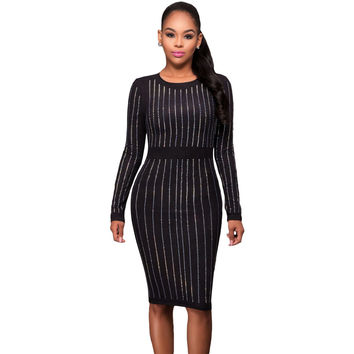 Black Faux Suede Front Long Sleeves Midi Dress LAVELIQ