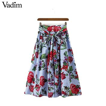 Vadim women sweet pleated plaid floral skirts sashes buttons pockets European style casual mid calf skirts Femininas BSQ573