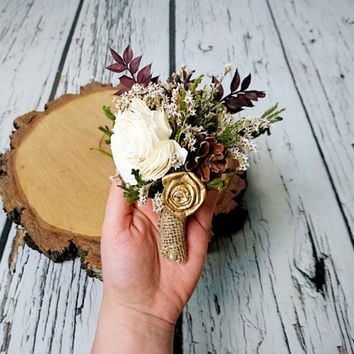 Ivory brown burgundy gold rustic wedding Rustic woodland BOUTONNIERE groom, Sola Flower, dried limonium, cypress, pine cones, burlap