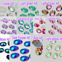 4x6mm 11 colors 100pcs Oval Loose Flatback Rhinestone Nail Art Crystal Stones