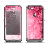 The Grungy Pink Painted Swirl Pattern Apple iPhone 5c LifeProof Nuud Case Skin Set