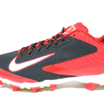 Nike Men's Huarache Keystone Low Black/Red Baseball Cleats 634627 016
