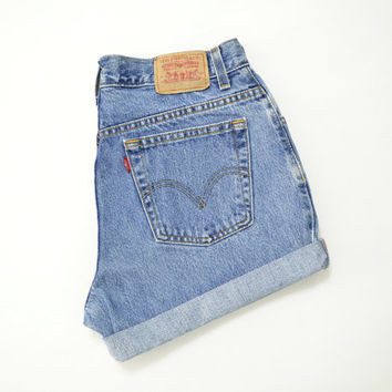 "LEVIS 550 High Waisted Shorts Medium Wash Denim Cuffed Rolled Cutoff Hem Boyfriend Jeans Festival Concert Wear Size 32"" Waist"