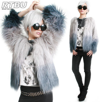 RTBU Punk Ombre Gradient Dip Dye Teal Blue on Silver Gray Shaggy Shearing Faux Fur Furry Gorilla Jacket Cropped Coat