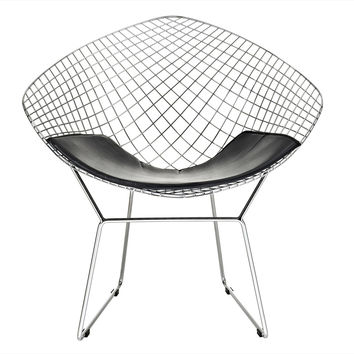Bertoia Style Diamond Wire Lounge Chair Black