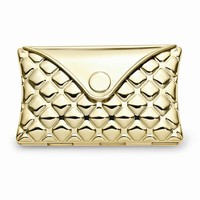 Gold-toned Quilt Patterned Envelope Compact Mirror - Engravable Gift Item