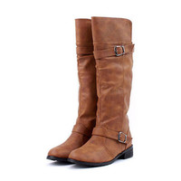 Concise Women's Boots With Buckle and Low Heel Design #sku 3300009
